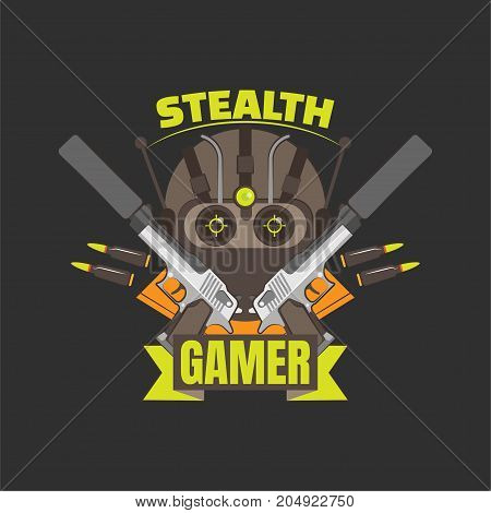Stealth gamer logo with guns, bullets and night vision mask.  Gaming profile avatar.