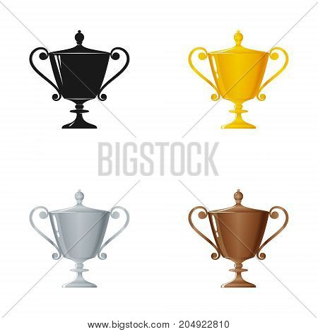 Set of Trophy Cups on a White Background , Gold , Silver , Bronzed and Silhouette Cup of Winners , Vector Illustration
