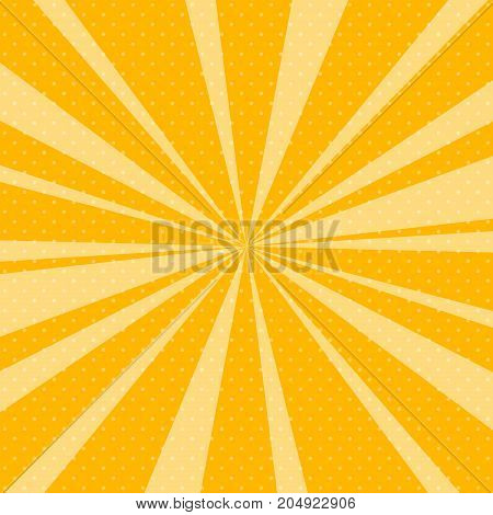 Retro Pop Art Background with Sunbeam, Dots on Yellow Background and the Sun's Rays , Vector Illustration