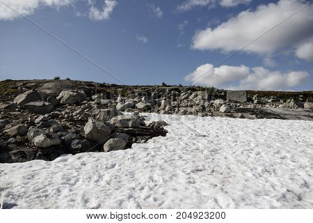 Snow Glade In The Stone Tundra Norway
