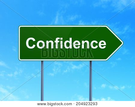 Business concept: Confidence on green road highway sign, clear blue sky background, 3D rendering