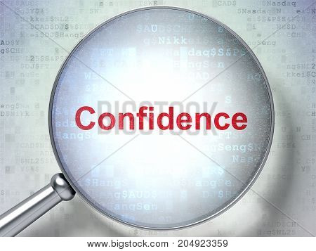 Finance concept: magnifying optical glass with words Confidence on digital background, 3D rendering