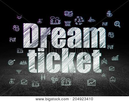 Finance concept: Glowing text Dream Ticket,  Hand Drawn Business Icons in grunge dark room with Dirty Floor, black background
