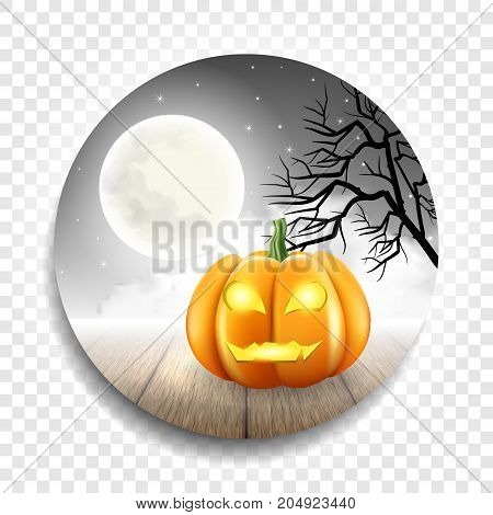 Round banner sticker or sticker to Holiday Halloween .Pumpkins , Moon and clouds on a gray background. Vector illustration