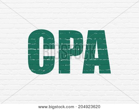 Finance concept: Painted green text CPA on White Brick wall background