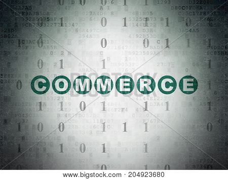 Finance concept: Painted green text Commerce on Digital Data Paper background with Binary Code