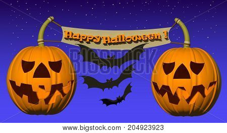 Happy Halloween composition 3D illustration. Halloween pumpkins, flying bats and 3d text on gradient purple background. Collection.