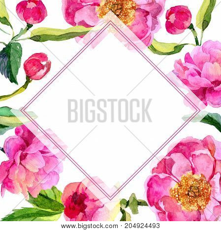 Wildflower peonies flower frame in a watercolor style. Full name of the plant: pink peonies. Aquarelle wild flower for background, texture, wrapper pattern, frame or border.