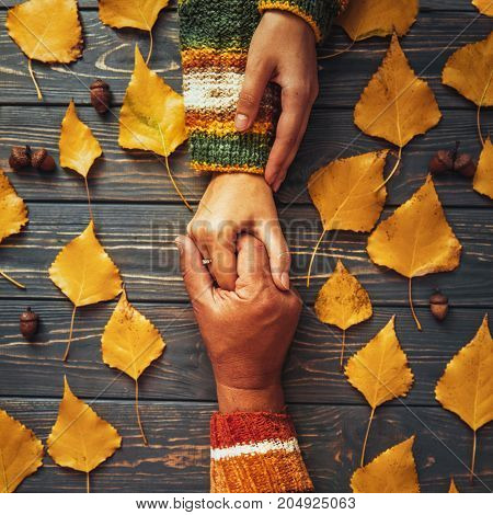 Suppurt And Trust. Autumn Couple Embrace Hands Top View,fall Ash  Leaf,autumnal Relationship Family