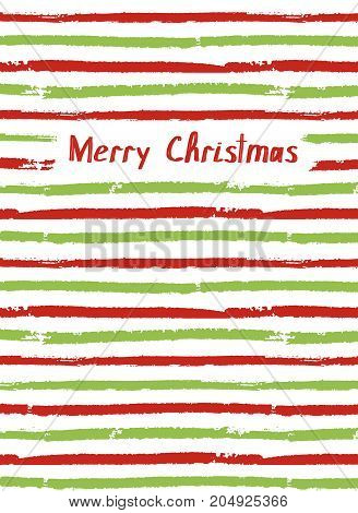 Merry Christmas. Vector greeting card, sketchbook cover. Brush color lines
