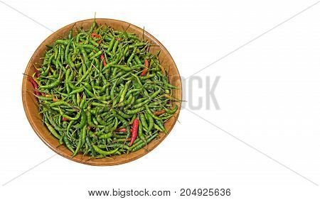 Bird Eye Chili in Wooden Bowl Isolated on White Background Clipping Path
