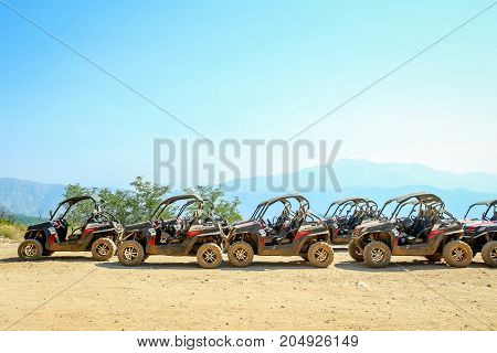 DUBROVNIK CROATIA - JULY 19 2017 : Buggies for safari adventure tour lined up on Srd hill in Dubrovnik Croatia.