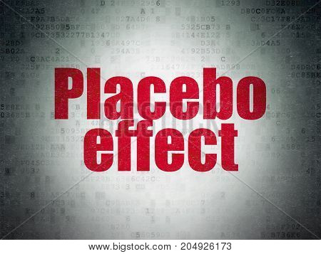 Medicine concept: Painted red word Placebo Effect on Digital Data Paper background