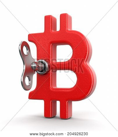 3d illustration. Bitcoin sign and winding key. Image with clipping path