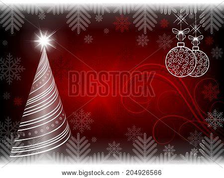 Christmas red background with Christmas tree and Christmas retro balls