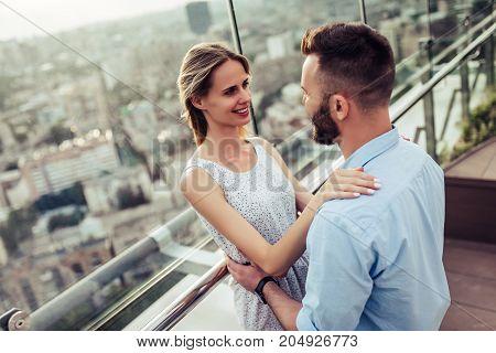 Romantic Couple On Terrace
