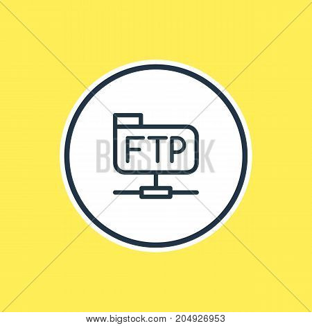 Beautiful Network Element Also Can Be Used As Ftp Element.  Vector Illustration Of File Transfer Protocol Outline.