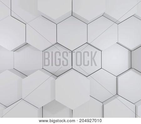 3D abstract gray geometric hexagonal background. 3d rendering