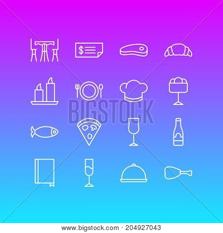 Editable Pack Of Book, Hat, Tray And Other Elements.  Vector Illustration Of 16 Cafe Icons.
