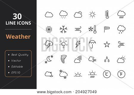 High quality weather line icons. Icons for user interfaces and web