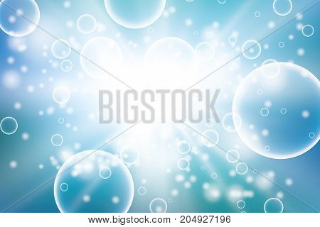 Oxygen bubbles in water blue background for scientific and biological concepts. Transparent circle, sphere ball, water sea or ocean, vector illustration. Vector