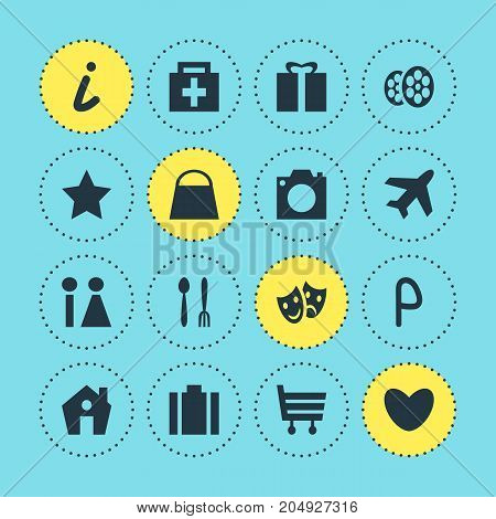 Editable Pack Of Home, Map Information, Handbag Elements.  Vector Illustration Of 16 Map Icons.