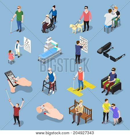 Isometric blind people icons collection of isolated realistic images of sightless human characters in different situations vector illustration