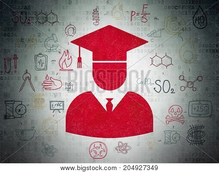Science concept: Painted red Student icon on Digital Data Paper background with Scheme Of Hand Drawn Science Icons