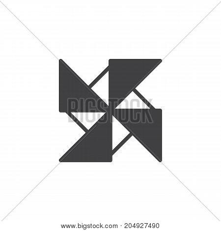 Pinwheel icon vector, filled flat sign, solid pictogram isolated on white. Symbol, logo illustration