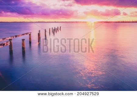 Cleveland Jetty At Sunset