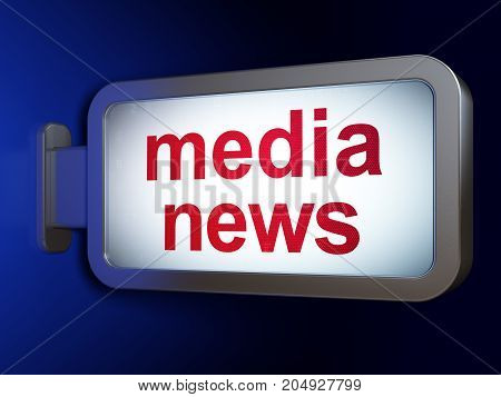 News concept: Media News on advertising billboard background, 3D rendering