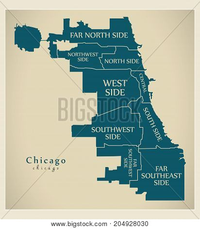 Modern City Map - Chicago City Of The Usa With Boroughs And Titles