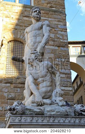 Hercules and Cacus Statue by Bandinelli at Piazza della Signoria in Florence, Italy