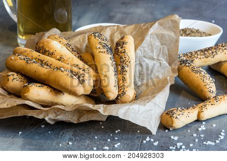 Home made salty pastry with salt and poppy seeds. Excellent as a complement to beer