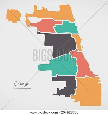 Chicago Map With Boroughs And Modern Round Shapes