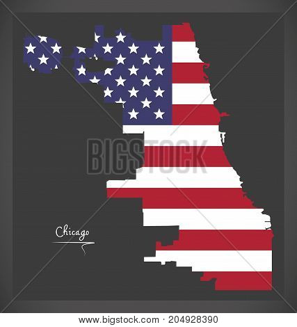 Chicago Map With American National Flag Illustration