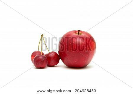 red apples isolated on white background. Horizontal photo.