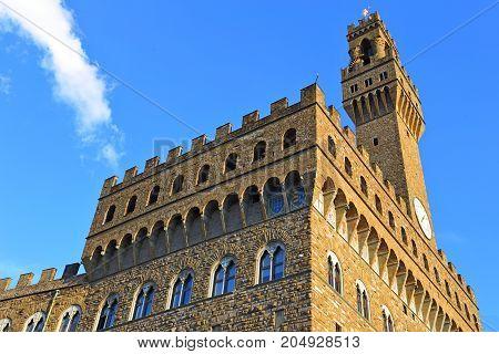 Palazzo Vecchio at the Piazza della Signoria in Florence Italy