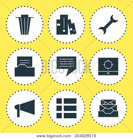 Editable Pack Of Trash, Settings, Document Directory And Other Elements.  Vector Illustration Of 9 Online Icons.