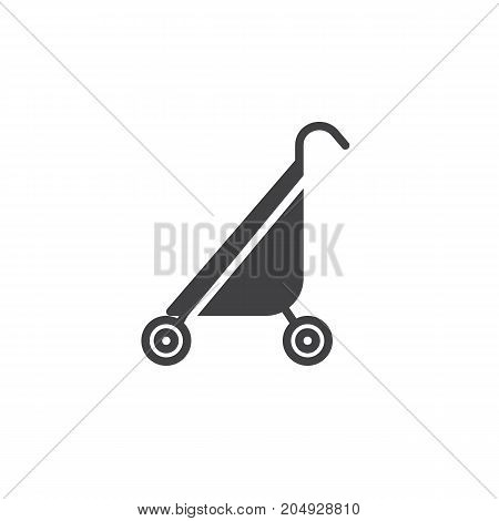 Baby stroller icon vector, filled flat sign, solid pictogram isolated on white. Symbol, logo illustration