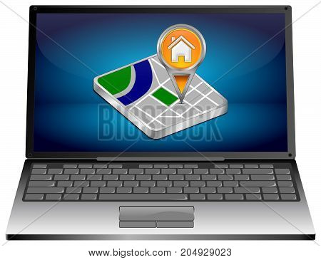 Laptop Computer with orange Home map pointer - 3D illustration