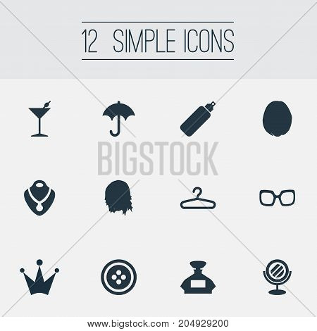Elements Necklace, Parasol, Styler And Other Synonyms Hairdressing, Mirror And Perfume.  Vector Illustration Set Of Simple Elegance Icons.
