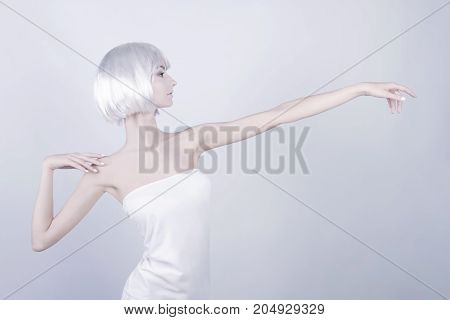Fashion Girl With White Wig