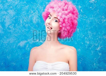 Comic Girl With Pink Wig