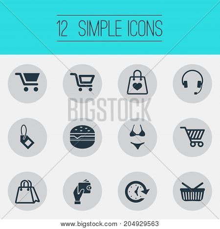 Elements Paper Bag, Electronics, Wallet And Other Synonyms Plastic, Shop And Tag.  Vector Illustration Set Of Simple Basket Icons.