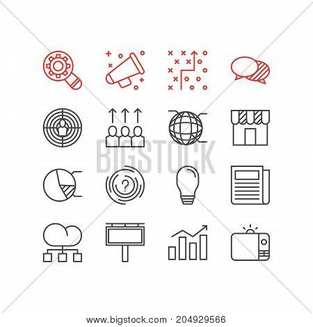 Editable Pack Of Advancement, Statistics, Aiming And Other Elements.  Vector Illustration Of 16 Marketing Icons.