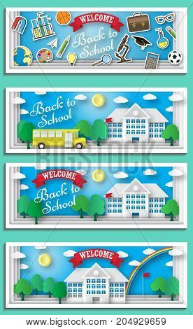 Back to school concept vector poster. School bus with building and blackboard on background. City primary and high school. Education banner in flat cartoon style.