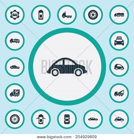 Elements Cab, Siren, Faucet And Other Synonyms Sedan, Rubber And Mega.  Vector Illustration Set Of Simple Transport Icons.