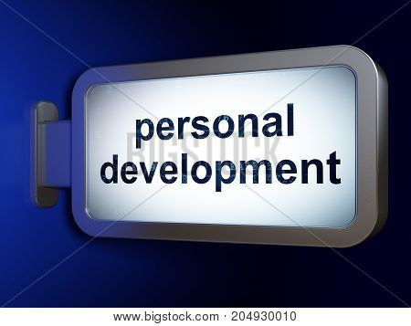 Studying concept: Personal Development on advertising billboard background, 3D rendering