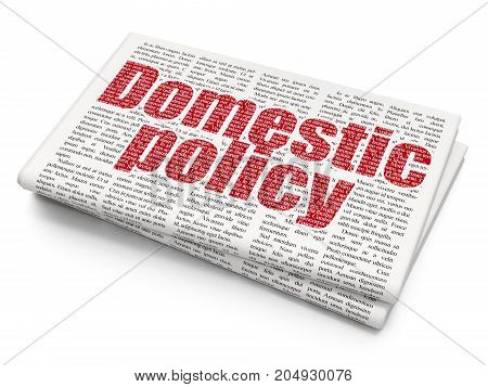 Political concept: Pixelated red text Domestic Policy on Newspaper background, 3D rendering